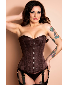 Nina Chocolate Brown Long Length Steel Boned Corset By Playgirl