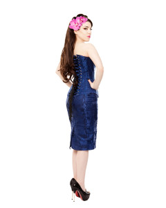 Long Royal Blue Brocade Pencil Skirt