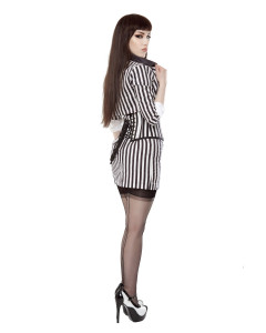 Black & White Stripe Short Pencil Skirt