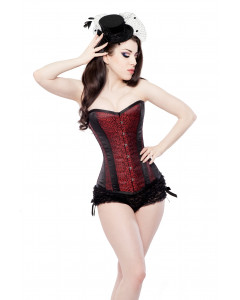 Red Leaf Brocade Steel Boned Corset & Ruffle Knickers