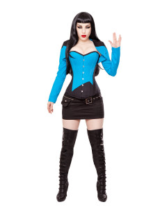 Black & Blue Cotton Bolero Shrug Top
