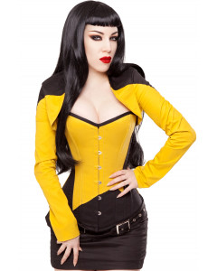 Long Overbust Black & Yellow Steel Boned Corset