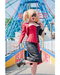 Harley Quinn Black/Red Corset, Bolero & Skirt Outfit