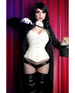 Nina Long Satin Overbust Ivory Steel Boned Corset