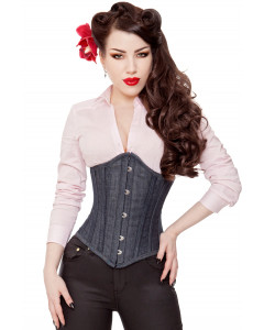Long Denim Steel Boned Corset Cincher
