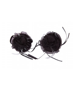 Black Organza Flower Nipple Pastie