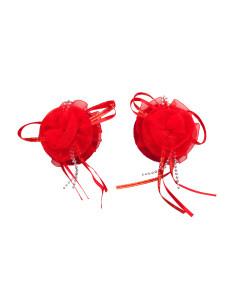 Red Organza Flower Nipple Pastie