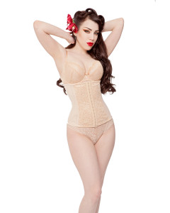 Nude Steel Boned Lace & Power Mesh Cincher