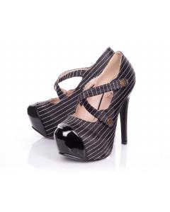 Black & White Pinstripe Rounded Toe Platform Shoe In Satin
