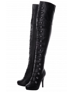 Over The Knee Black Matt Button Detail Boots