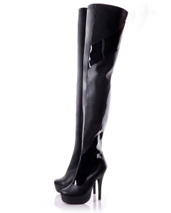 Thigh High Black Matt Boots With Patent Detail