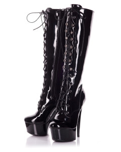 Knee High Black Patent Lace Up Boots