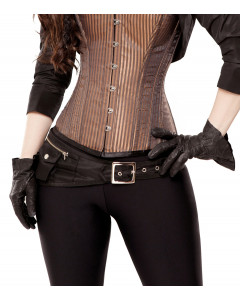Black Tafetta Corset Belt With Pockets