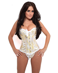 Ivory and Yellow Brocade Fashion Corset