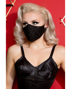 Black Sequin Fitted Face Mask With Filter Pocket