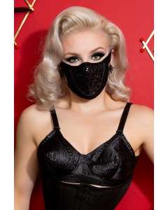 Black Sequin & Lycra Face Mask With Filter