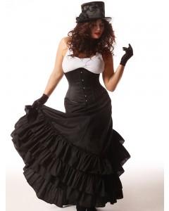 Plus Size schwarzer viktorianischer Trubelrock