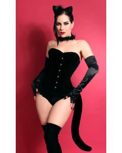 Long Overbust Black Velvet Steel ohne Knochen Korsett von Playgirl