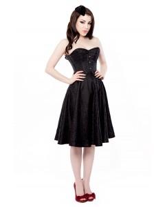 Schwarzes Blumenkorsettkleid