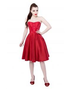 Rotes Tafetta Korsettkleid mit langem Korsett