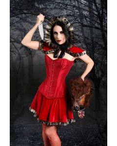 Playgirl Layla Red Taft Stahl ohne Knochen Overbust Korsett