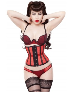 Playgirl Eve Red Net Mesh Cincher Korsett mit Schwarz