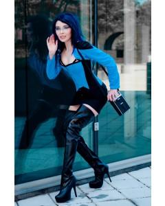 Schwarz / Blau Stahl Korsett & Bolero Outfit
