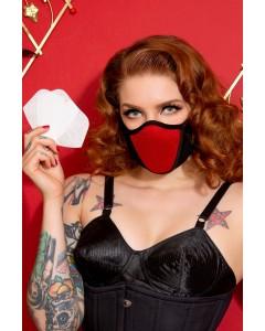 3 einfache Gesichtsmasken aus roter Baumwolle und Lycra Breath mit HEPA-Filter